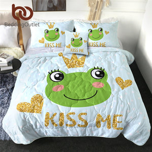 BeddingOutlet Cute Frog Quilt Set Cartoon Cool Blanket Golden Glittering Crown Summer Bedspread Prince Frog Fairy Tale Bed Cover