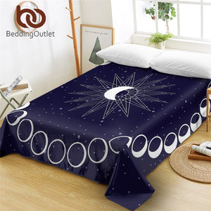 BeddingOutlet Eclipse Bed Sheet Moon Star Bedspread Mattress Protector Cover Blue Bedlinen Queen King drap de lit 1-Piece