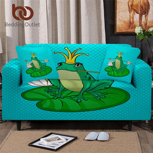 BeddingOutlet Frog Slipcover For Corner Sofas Animal Chair Protector Cute Frog Fairy Tale Sofa Cover Green Cartoon Couch Cover