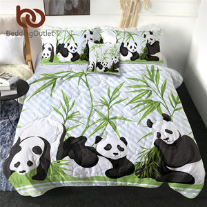 BeddingOutlet Funny Panda Quilt Blanket Cartoon Bedding Throws for Kids Bamboo Leaf Bedspreads Animal Bed Cover Set couette 4pcs