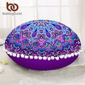 BeddingOutlet Mandala Round Floor Pillow Case Cushion Cover Poufs Floral Decorative Pillowcase Bohemian Pillow Cover For Sofa