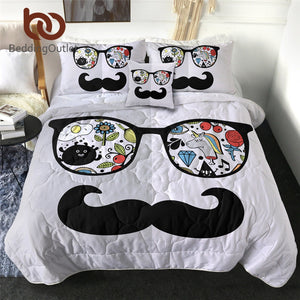 BeddingOutlet Moustaches Thin Duvet Abstract Face Summer Quilt Glasses Air-conditioning Blanket Retro Comforter Set mikrofibra