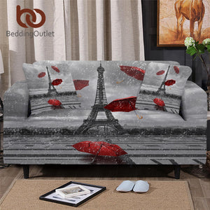 BeddingOutlet Paris Tower Sofa Cover France Romantic Slipcover Sofa Red Umbrella Couch Cover Modern Art Chair Protector Dropship