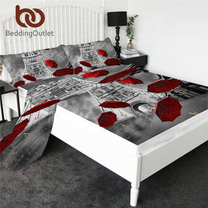 BeddingOutlet Red Umbrella Fitted Sheet England London Bed Sheet Set Tower Bridge on River Thames Flat Sheet 4pcs Mattress Cover