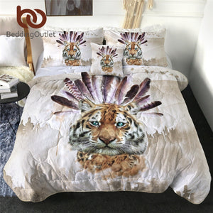 BeddingOutlet Tiger Thin Quilt King Size Watercolor Cool Blanket Wild Animal Bedspread 3D Printed Comforter colchas de verano