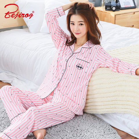 5fe49e251d Bejirog bedgown button pajama set for women cotton sleepwear 2 piece  homewear plus size female pyjama