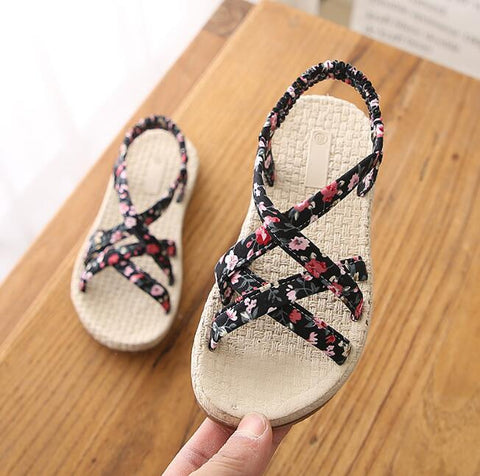 Bekamille Girls Sandals Summer Kids Shoes Cute Print Girls Princess Beach Sandals Infant Floral Shoes Weave Flat With Shoes - thefashionique