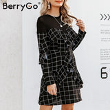 BerryGo Elegant office plaid dress women Streetwear straight o-neck chic short party dress Autumn ruffled long sleeve mini dress