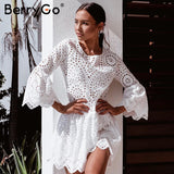 BerryGo Lace embroidery cotton mini dress women Ruffle sleeve causal white dress Hollow out spring short dress vestidos - thefashionique