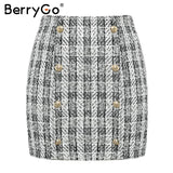BerryGo Two-piece plaid tweed women blazer suit Casual streetwear suits female blazer sets Chic office ladies blazer skirt suits