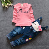 BibiCola 2017 autumn Baby Girls Clothing Set Children Denim overalls jeans pants + Blouse Full Sleeve Twinset Kids Clothes Set - thefashionique