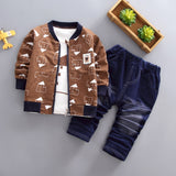 BibiCola 2018 kids boys fashion clothing sets spring autumn zipper jacket + shirts+jean pants children baby clothes fashion suit - thefashionique