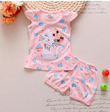 BibiCola Infant clothes toddler children summer baby girls clothing sets cartoon 2pcs cat  love clothes sets girls summer set - thefashionique