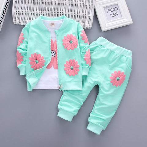 Bibicola baby girls clothing sets fashion kids girl t-shirt + coat +pant 3pcs sets children casual sport suits girl clothes suit