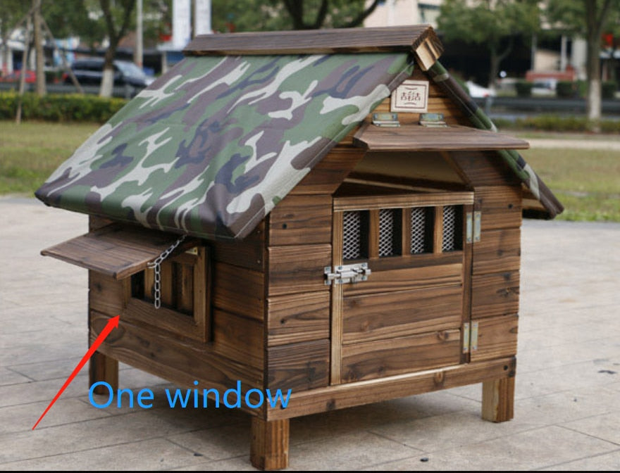 Big Outdoor Dog Cage Rainproof Carbonized Wooden Dog House Bed for Small Medium Large Dogs Kennel Outdoor Cat House Puppy Tents