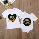 Big Sister Little Brother Matching Outfits Baby Boy Bodysuits Girl T shirt Kids Top Tee Clothes Set - thefashionique
