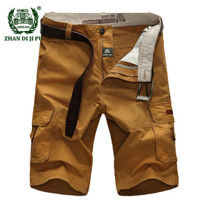 Big Size 30-44 Men's casual brand summer 100% pure cotton blue shorts man afs jeep khaki work cargo trouser more pocket trousers - thefashionique