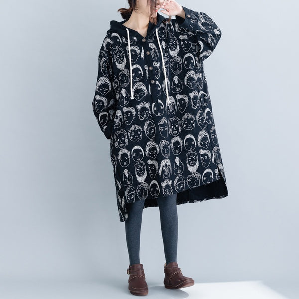 Big size cartoon print hooded sweatshirt dress plus size fashion autum
