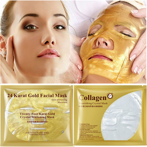 Bioaqua 24K Gold Collagen Facial Mask Face Mask Crystal Gold Collagen Face Mask Moisturizing Anti-aging Face Skin Care Cosmenics - thefashionique