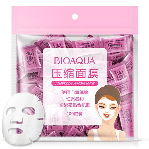 Bioaqua 50 Pieces Natural Nonwoven Fabric Compression Face Mask Of Pro Thin Skin Care DIY Mask Disposable Mask - thefashionique