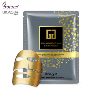 Bioaqua Brand Gold Facial Mask BLACK Essence Hyaluronic Acid Gel Anti Aging Wrinkle Hydrating Moisturizing Skin Care For Face - thefashionique