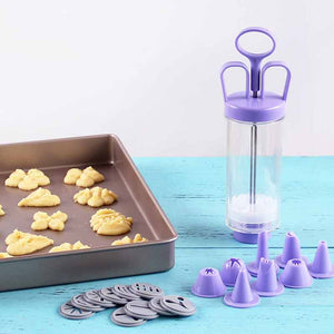 Biscuit Cookie Making Cookie Extruder Press Machine Cake Making Decorating Gun 10 Moulds+ 8 Nozzles Kitchen Tools Cookie moulds - thefashionique