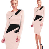 Black Dress Tunic Women Formal Work Office Sheath Patchwork Line Asymmetrical Neck Knee Length Plus Size Pencil Dress B63 B231 - thefashionique