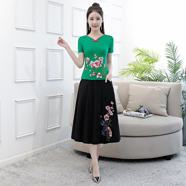 Black Fashion Spring Chinese Womens Shirt Skirt Sets 2pc Short Sleeve Blouse Mandarin Collar Dress Flowers S M L XL XXL 3XL 4XL - thefashionique