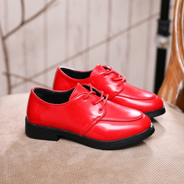 Black Red Unisex leather shoes Girl boy