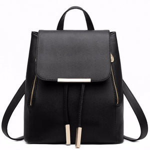 Black School Supplies Backpack Female PU Leather Backpack Japanese Street Bag Women's School Bag for Adolescent Girls Backpacks - thefashionique