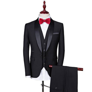 Black wedding casual suit men Groom Tuxedos Men Suits One Button Wedding Suits for Men Groomsman Suits (Jacket+Pants+vest) - thefashionique
