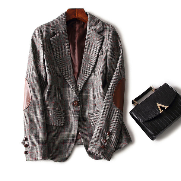 Blazer 2015 New Fashion Autumn Winter Women Plaid Wool Leather Patchwork