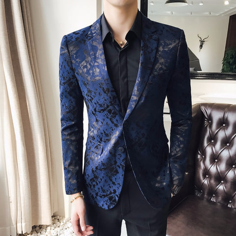 Blue Blazers Mens 5XL Mens Stage Wear Stage Clothing For Mens Social Blusa Masculina Slim Fit Business Club Personality Blazers