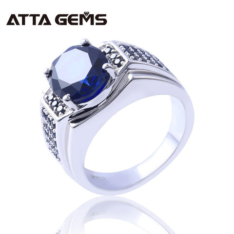 Blue Sapphire Silver Men's Wedding Ring S925 7.2 Carats Created Sapphire Classic Simple Design for Men Fine Jewelry Gift - thefashionique