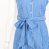 Blue Striped Bow Bandage Dress 2019 Summer Sexy Sleeveless Strap Shirt Dress Single-Breasted Elegant Women Party Dress Vestidos - thefashionique