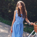 Blue Striped Dress Bow Bandage Sexy Summer Off Shoulder Women Party Dresses Single-Breasted Midi Elegant Shirt Dress - thefashionique