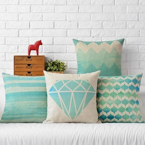 Blue wave home Cushion Covers home textile decorative soft seat car linen Mint Green fresh diamond almohada - thefashionique