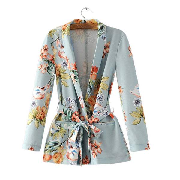 Bohemian Blazer Women 2019 Summer Outwear High Quality Printing Female Floral