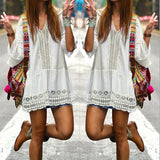 Bohemian Style Women Summer Sexy Casual V Neck 3/4 Flare Sleeve Lace Crochet Loose - thefashionique