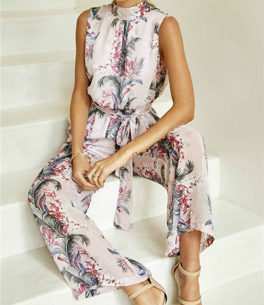 Boho 2018 New Floral Printed Jumpsuits Rompers Sexy Backless Sleeveless Halter Chiffon Jumpsuit Wide Leg Pants Long Female GV479 - thefashionique