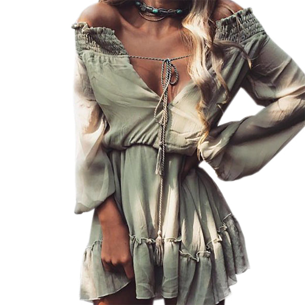 Boho Chiffon Dresses Slash Neck Beach Summer Beach Mini Dress Lantern Long Sleeve Ruffle Women Sexy Party Vintage Dress GV687 - thefashionique
