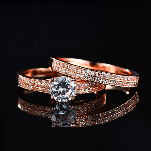 Boho Cute Female Small Zircon Stone Ring Set Crystal Rose Gold Bridal Engagement Ring Vintage Women Silver Wedding Finger Rings - thefashionique