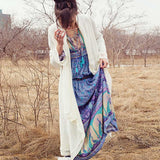 Boho Inspired summer dress bohemian floral print long sleeve tassel long dresses V-neck loose dress women hippie chic vestidos - thefashionique