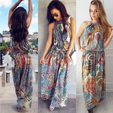 Boho Women Floral Maxi Dress Sleeveless Summer Long Beach Sundress Ladies Womens Sexy Daily Dresses Clothing - thefashionique