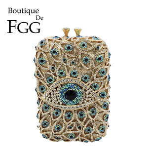 Boutique De FGG Devil Eyes Women Diamond Box Clutch Evening Purses and Handbags Bridal Wedding Party Crystal Bags - thefashionique