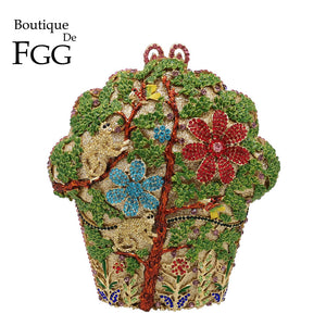 Boutique De FGG Monkeys & Tress Women Crystal Evening Bags Bridal Flower Minaudiere Purse and Handbag Wedding Party Clutch Bag - thefashionique