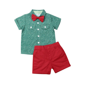 Boy Clothes Kids Baby Boy Summer Suit Wedding Bowtie Gentleman Tops Shirt Shorts Outfits - thefashionique