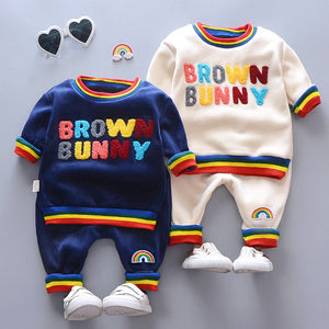 Boys Girl Clothing Suits Baby Embroidery Letters Velvet T Shirt Pants 2Pcs/Set Spring Infant Clothes Toddler Children Tracksuits - thefashionique