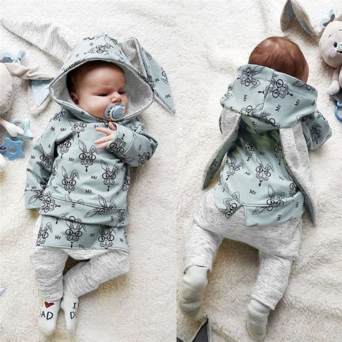 Boys Girls Clothes Set Long Sleeve Rabbit Print Hooded Sweatshirt Tops+ Pants 2Pcs Newborn Infant Baby Clothing Set Outfits