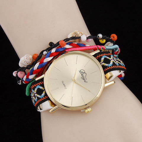 Braided Bracelets Bangles Quartz Wrist Watch 2018 Fashion Women Crystal Leather Strap Watch Jewelry Dropshipping